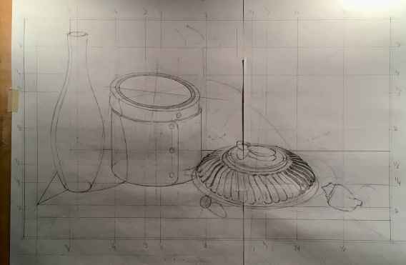 Orange Box & Silver Bowl- drawing