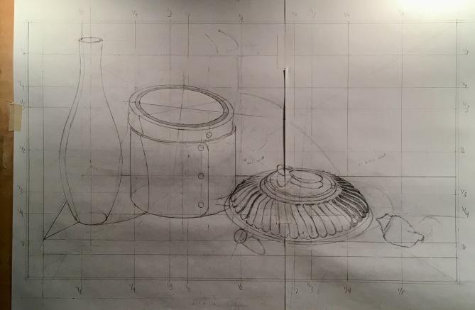 Orange Box & Silver Bowl- drawing